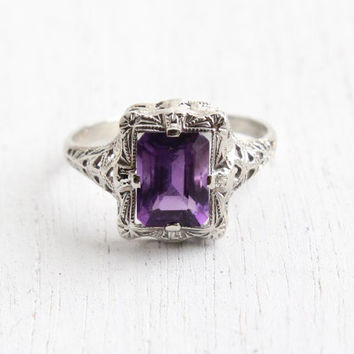 Vintage 14k White Gold Filigree Amethyst Ring - Antique Size 7 Art Deco 1920s Gemstone Ring Hallmarked A&S