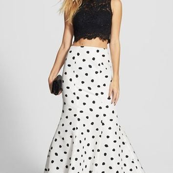 Women's Sherri Hill Embellished Lace Crop Tank & Dotted Mermaid Skirt