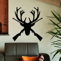 Deer Antlers Wall Decal Rustic Deer Hunting Wall Decor Bedroom Living Room Dining Hunting Nursery Room Rustic Country Home Deco