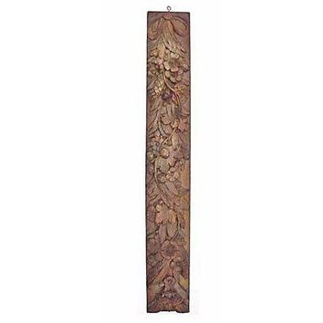 Pre-owned Antique French Carved Floral Wall Plaque