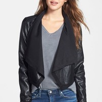 Women's Max & Mia Open Front Faux Leather Jacket