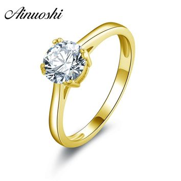 AINUOSHI 10k Solid Yellow Gold Wedding Ring 1 Carat 4 Claws Simulated Diamond Engagement Jewlery Women Wdding Ring Customized