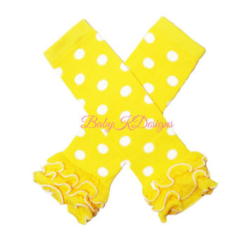 Yellow n White Polka Dot Ruffle Legwarmers. Baby Leg Warmers / Girls Baby Legwarmers Knit Socks Leggings