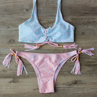 2017 summer newest Pink Bandage Bikini Swimwear Swimsuit Sexy Beach Wear Bathing Suit Bikinis