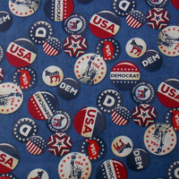 Democrat Patriotic Fabric Political Buttons Craft Fabric USA Fabric Donkey Election Year Fabric Remnant