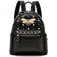 Gucci Women College Leather Satchel Backpack Bookbag