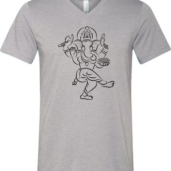 Yoga T-shirt Sketch Ganesha Black Print Lightweight Triblend V-neck