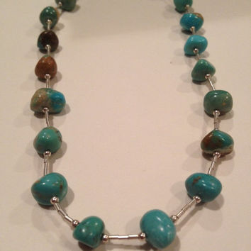 """ON SALE Navajo Turquoise Sterling Necklace Adjustable 20"""" Nugget 925 Liquid Silver Vintage Jewelry Blue Tribal Southwestern Native Gift USA"""