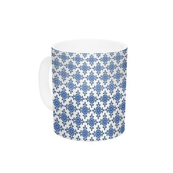 "Carolyn Greifeld ""Bohemian Blues III"" White Blue Ceramic Coffee Mug"