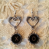 X and O Earrings, Hugs and Kisses, Black Antique Typewriter Keys, Typewriter Jewelry, Silver Hearts, Valentine's Day, gift for her, XO love