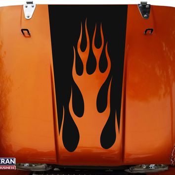 Flames Hood Blackout Vinyl Decal fits Jeep CJ5 CJ7 CJ8 Scrambler