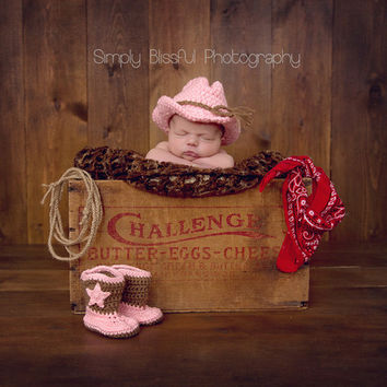 Cutie Cowgirl Hat and Booties Set for Newborn Girls Winter Hat | Melondipity
