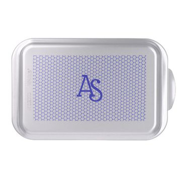 Blue pattern. Hexagonal grid. Monogram. Cake Pan