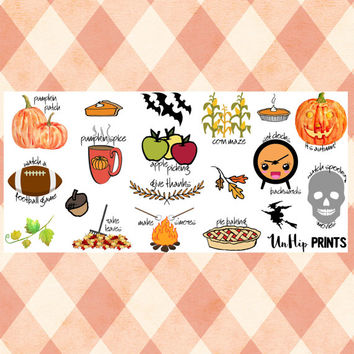 Fall Bucket List, Planner Stickers, Bucket List Stickers, To Do Stickers, holiday stickers, fun stickers, seasonal stickers (#0184)