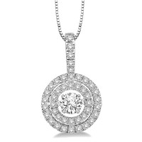 .25ct (4mm) Sterling Silver Dancing Diamond Simulant- Diamond Veneer double Halo Round Pendant in perpetual motion 635P07