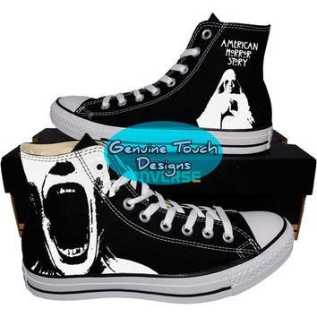 Custom Converse, AHS, American Horror Story, Fanart shoes, Custom Chucks, painted shoe