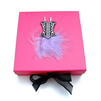 Pink Keepsake or Memory Box with Purple Feather Dress