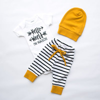 hello world, baby boy coming home outfit, baby boy clothes, boy bodysuit, personalized bodysuit, shirt, bodysuit, arrow, baby shower gift