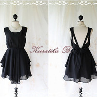 A Party V Shape Style - Cocktail Prom Party Dinner Wedding Night Dres Mellow Black Lined Deep Back Bow Tie Natural Sexy Charming Looks