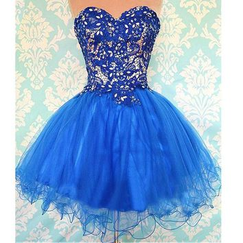 Elegant & Luxury Sweetheart Neck Strapless Beaded Lace Royal Blue Tulle Short Prom Dresses,Hoco Dresses,Hot 71