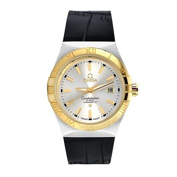 Omega brand fashion trendy men and women watches F-SBHY-WSL Black + gold case + silver dial