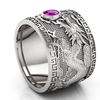 Purple Dragon White Gold Wide Band Mens Ring Amethyst Ring Gift for Man Large Engraved Heavy Ring Unique Ring Engagement Ring Wedding Ring