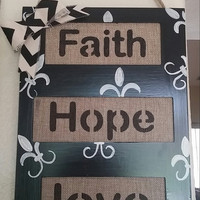 Wood Wall art, Modern Home Decor, Rustic Wall art, Wooden Signs, Faith, Hope and Love Wooden Wall art, Cottage Chic, Rustic Decor, wood sign
