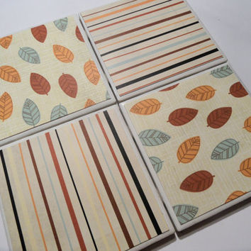Fall Leaves and Stripes Ceramic Coasters - set of 4