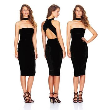 Ladies Slim Sexy Club One Piece Dress [10239003731]