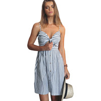women summer dresses Cotton and linen Backless strapless spaghetti strap dress Blue striped casual Feminino vestidos -03131