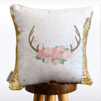 Pastel Deer Mermaid Pillow w/ Reversible White & Gold Sequins