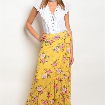 Yellow floral wrap maxi skirt