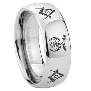 8mm Masonic Shriners Mirror Dome Tungsten Carbide Engraved Ring