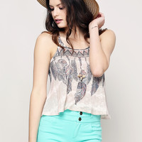 Feather Pattern Cami Crop Top