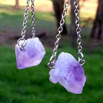 Raw Amethyst Earrings, Chain Dangle Drop Purple Quartz Crystal Point Rough Gemstone Earrings, Bohemian Earrings, Bridesmaid Bridal Earring