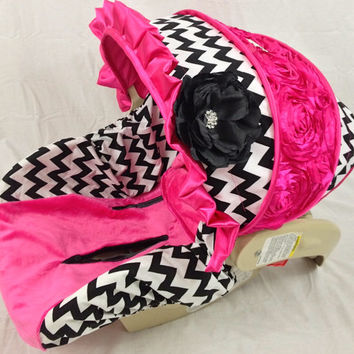 Chevron Infant Car Seat Cover with Bling and Hot Pink 3D Floral on Canopy