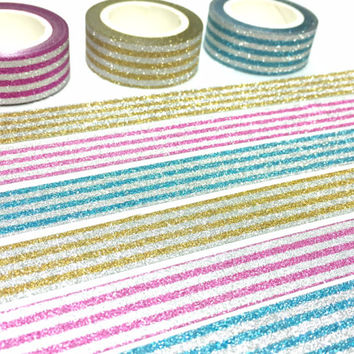 3 rolls stripe Glitter washi tape glitter pink shimmer blue shining yellow washi masking tape craft project gift wrapping tape glitter tape