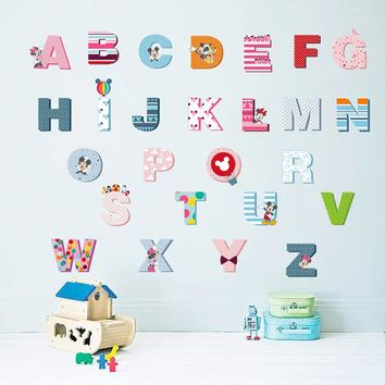 Carton Mickey Mouse 26 English letters Children baby grow up essential Preschool Wall Stickers for kids room home decoration