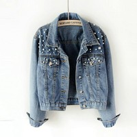 Pearl Beading Crop Denim Jackets