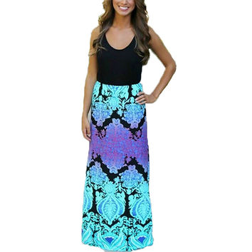 2016 Fashion Women Summer Long Dress Casual Sleeveless Patchwork Bohemian Maxi Party Dresses O Neck Floral vestidos Plus Size