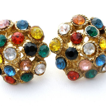 Multi Colored Rhinestone Earrings Czech Vintage