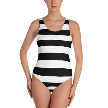 All-over-print One-Piece Swimsuit - Jail stripes pattern, retro style, vintage design