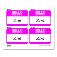 Zoe Hello My Name Is - Sheet of 4 Stickers