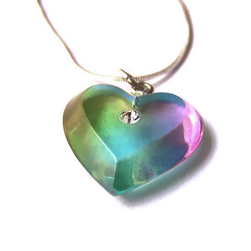 Resin Heart Necklace Pendant, Rainbow, Upcycled, Resin Jewelry