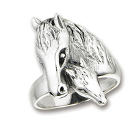 Sterling Silver Two Horses Ring