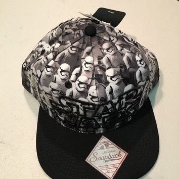 BRAND NEW STAR WARS STORM TROOPER ALL OVER SNAPBACK HAT SHIPPING