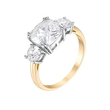 Fit For A Queen - Women's 18k Gold Plated Cushion Cut CZ Ring Modeled After Meghan Markle's Ring