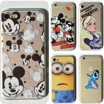 Thin Soft Clear TPU Slim Cartoon Cute Mickey Mouse Case For Apple iPhone 7 7 plus 6 6s plus 4 4S 5 5S SE 5C Silicone Phone Case