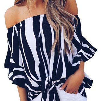 Off The Shoulder Black White Vertical Stripes Blouse