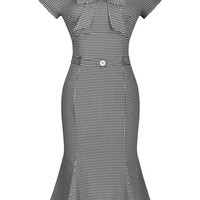 Miusol Women's Vintage Houndstooth-Print Bow Slim Retro Evening Dress